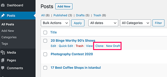 Duplicate a Post or Page in WordPress
