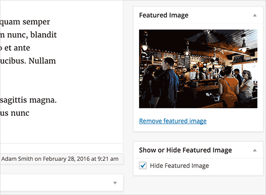 Hide Featured Images