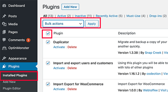 Disable All Your WordPress Plugins
