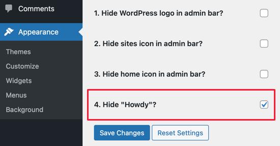 Change Howdy Admin in WordPress
